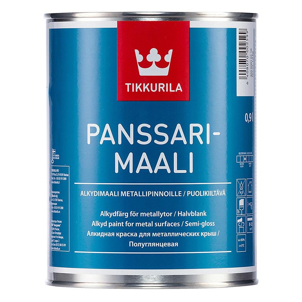 Эмаль для металических крыш Tikkurila Panssarimaali белая основа А полуглянцевая 0,9 л