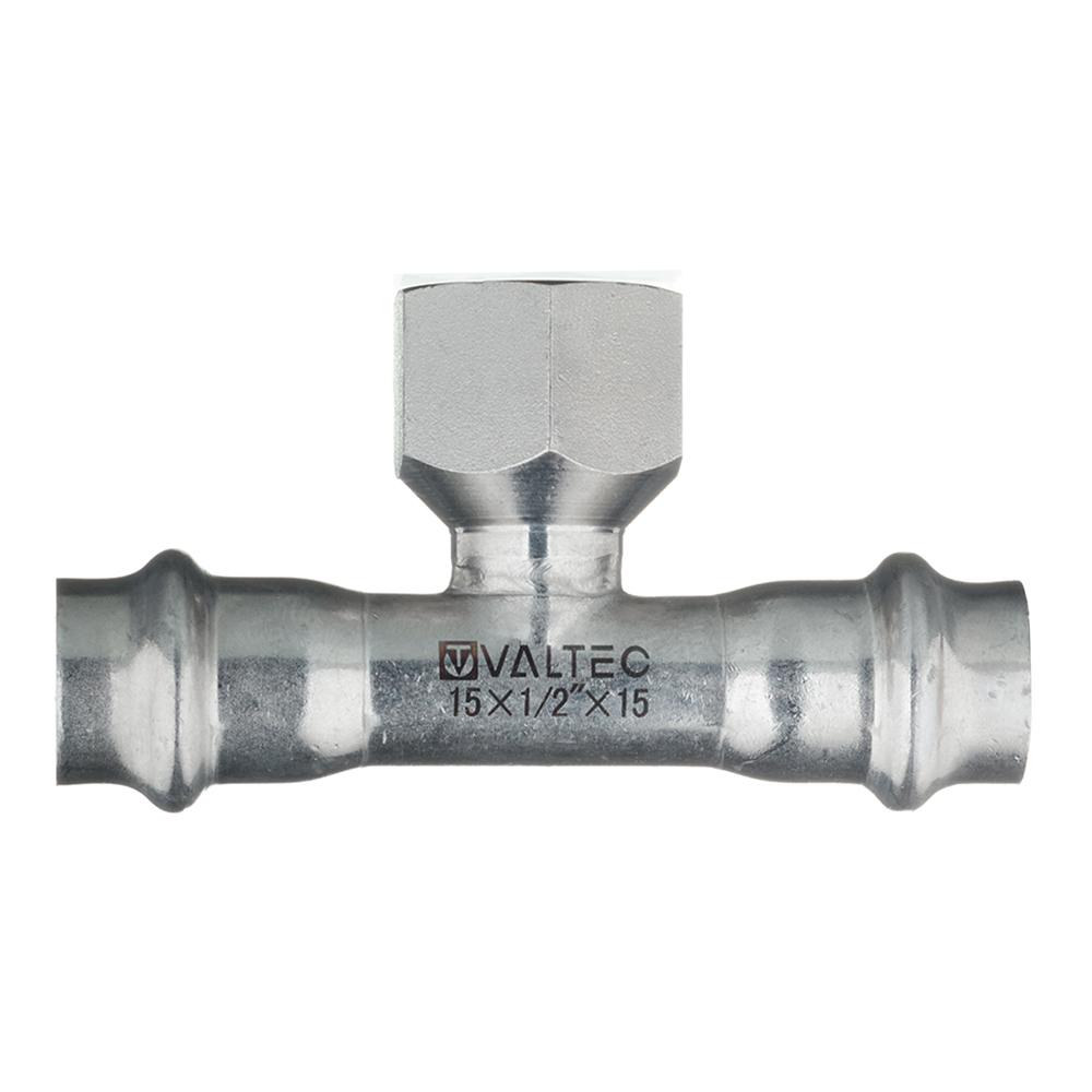 Тройник Valtec (VTi.932.I.150415) 15 мм х 1/2 ВР(г) х 15 мм нержавеющая сталь
