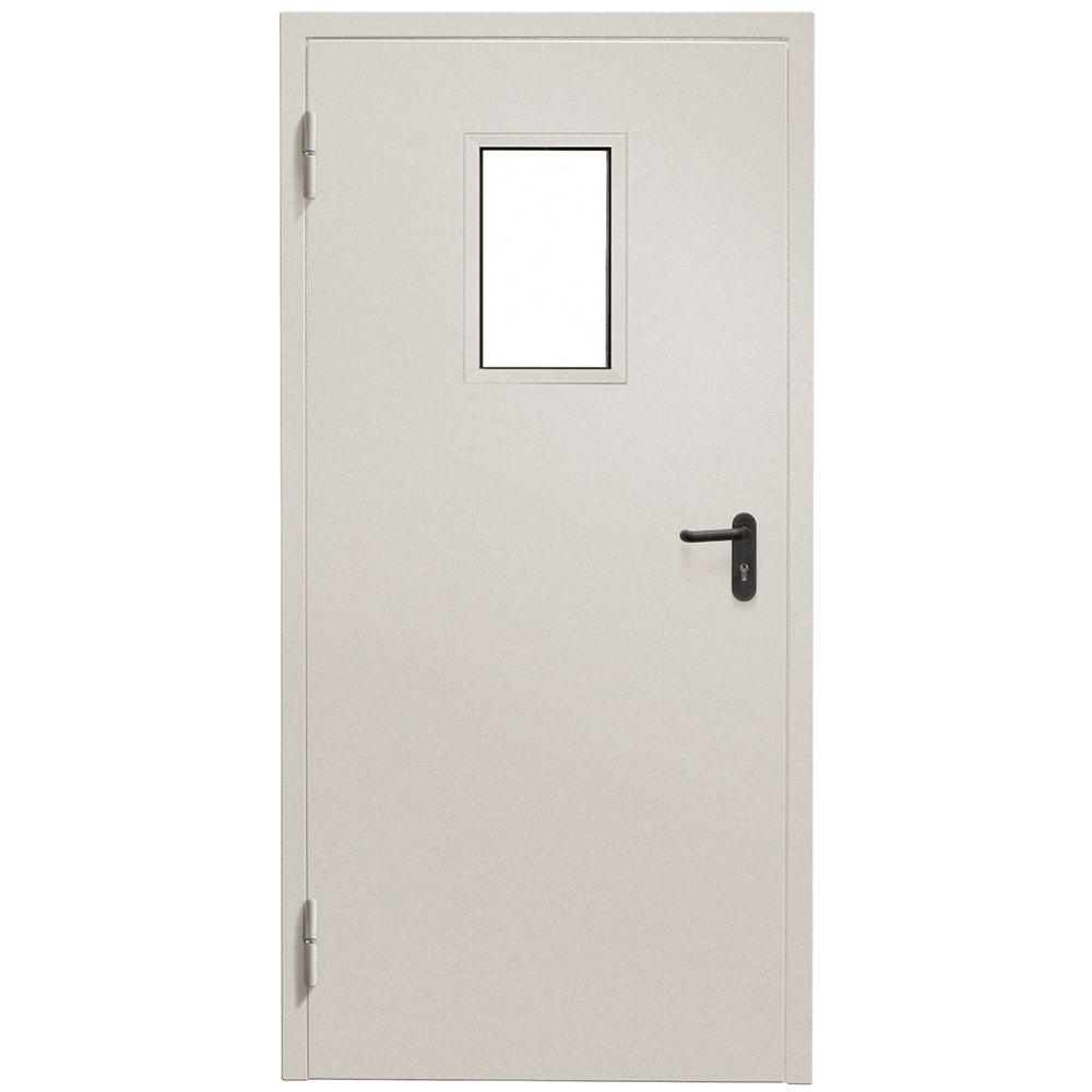 Дверь противопожарная Промет ДПС-EIS-60 серый (7035) остекленная левая 950х2050 мм