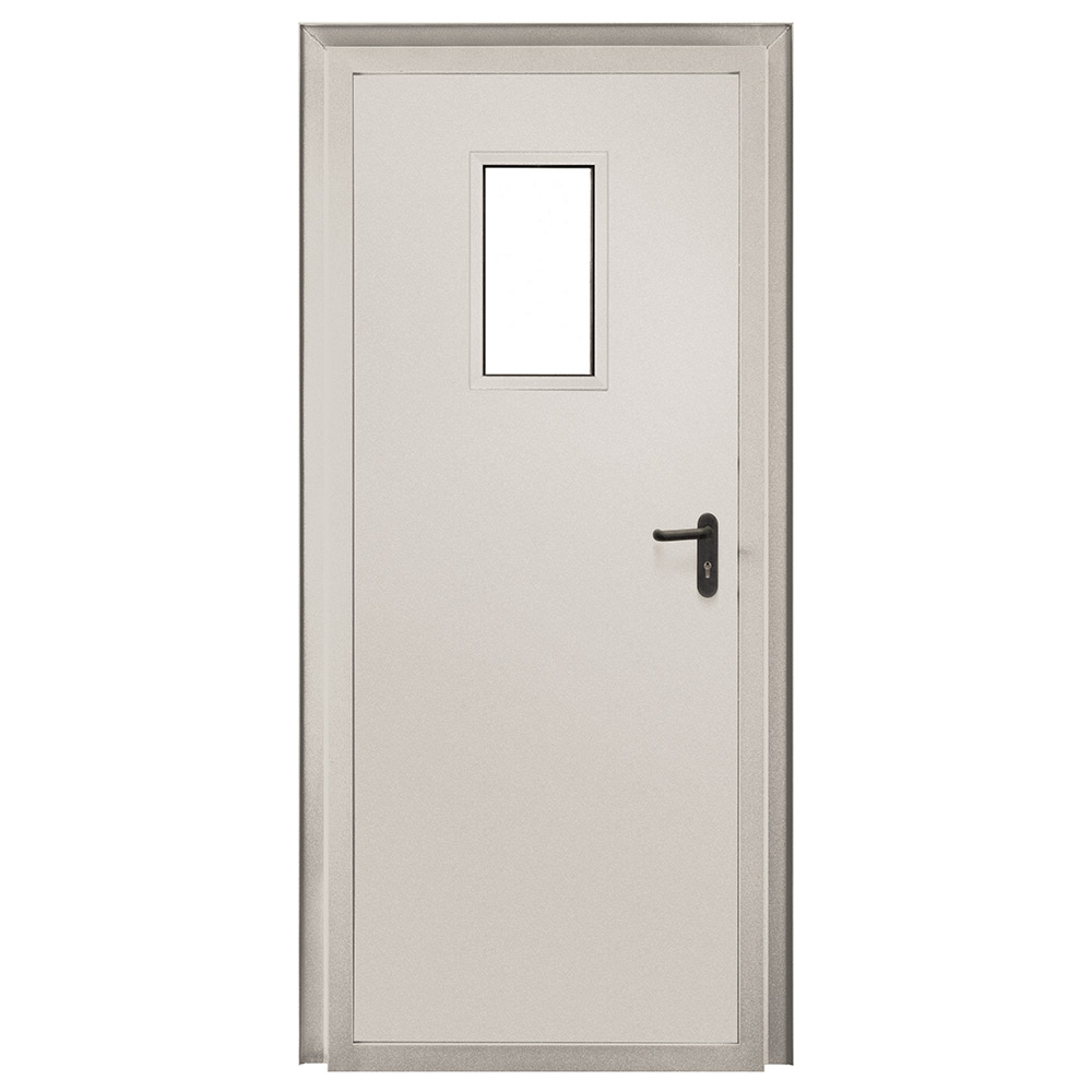 Дверь противопожарная Промет ДПС-EIS-60 серый (7035) остекленная правая 950х2050 мм