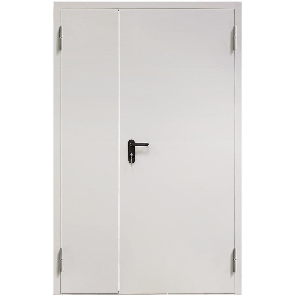 Дверь противопожарная двухстворчатая Промет ДП-2-EIS-60 серый (7035) глухая правая 1250х2050 мм