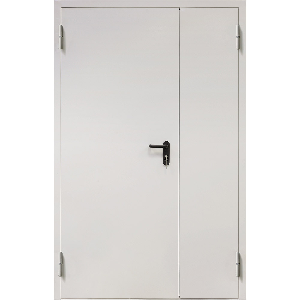 Дверь противопожарная двухстворчатая Промет ДП-2-EIS-60 серый (7035) глухая левая 1250х2050 мм