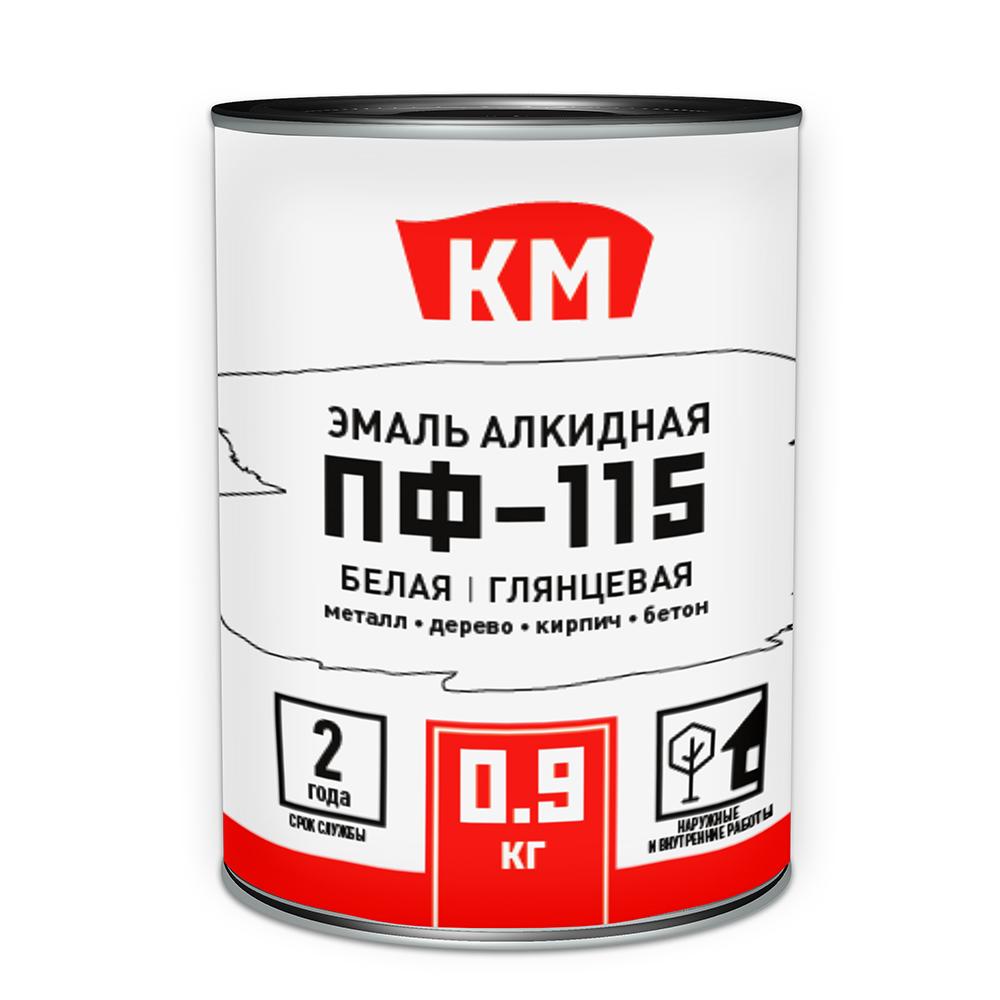 Эмаль ПФ-115 КМ белая глянцевая 0,9 л