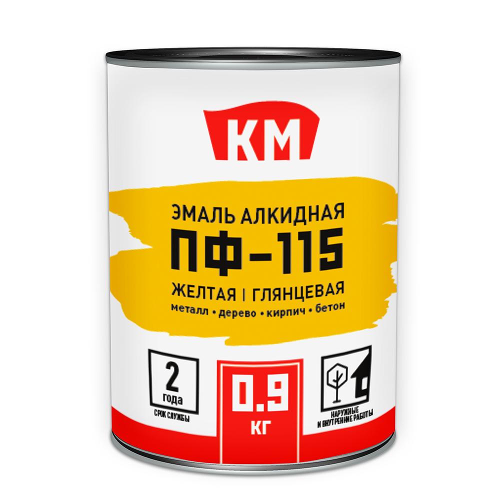 Эмаль ПФ-115 КМ желтая глянцевая 0,9 л
