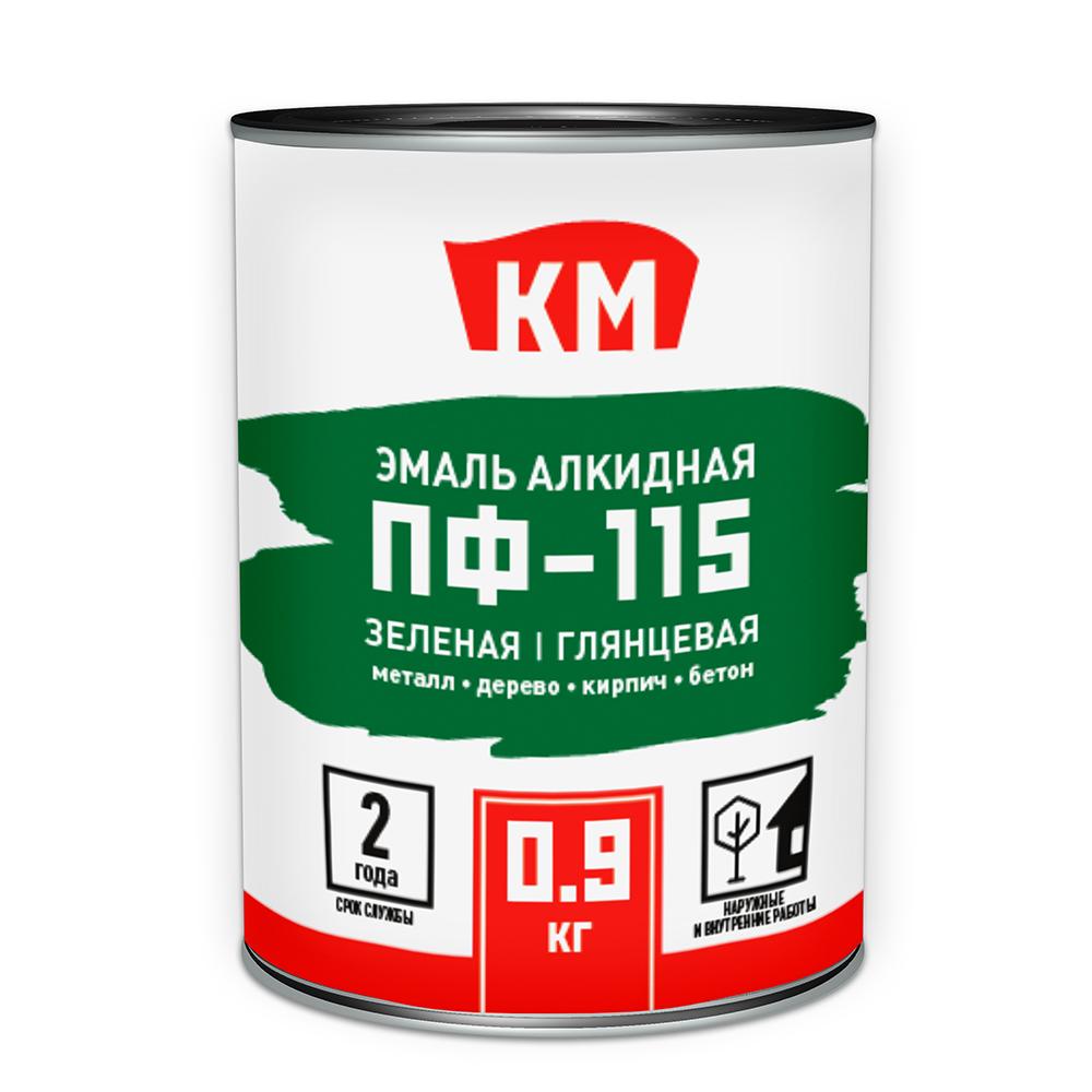 Эмаль ПФ-115 КМ зеленая глянцевая 0,9 л