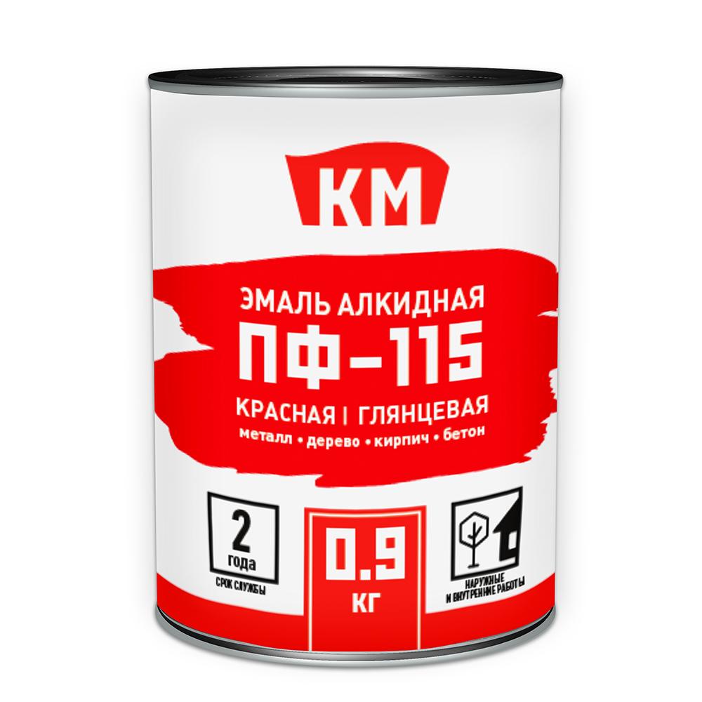 Эмаль ПФ-115 КМ красная глянцевая 0,9 л