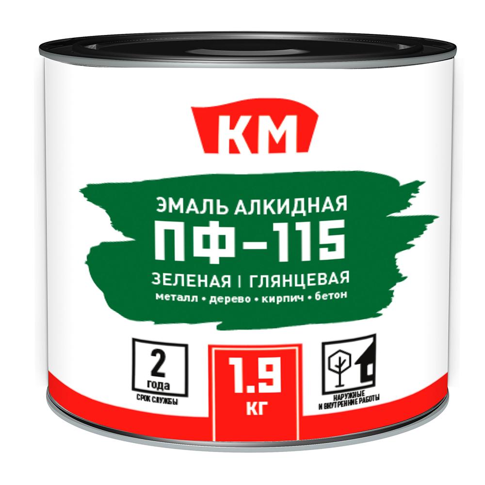 Эмаль ПФ-115 КМ зеленая глянцевая 1,9 л