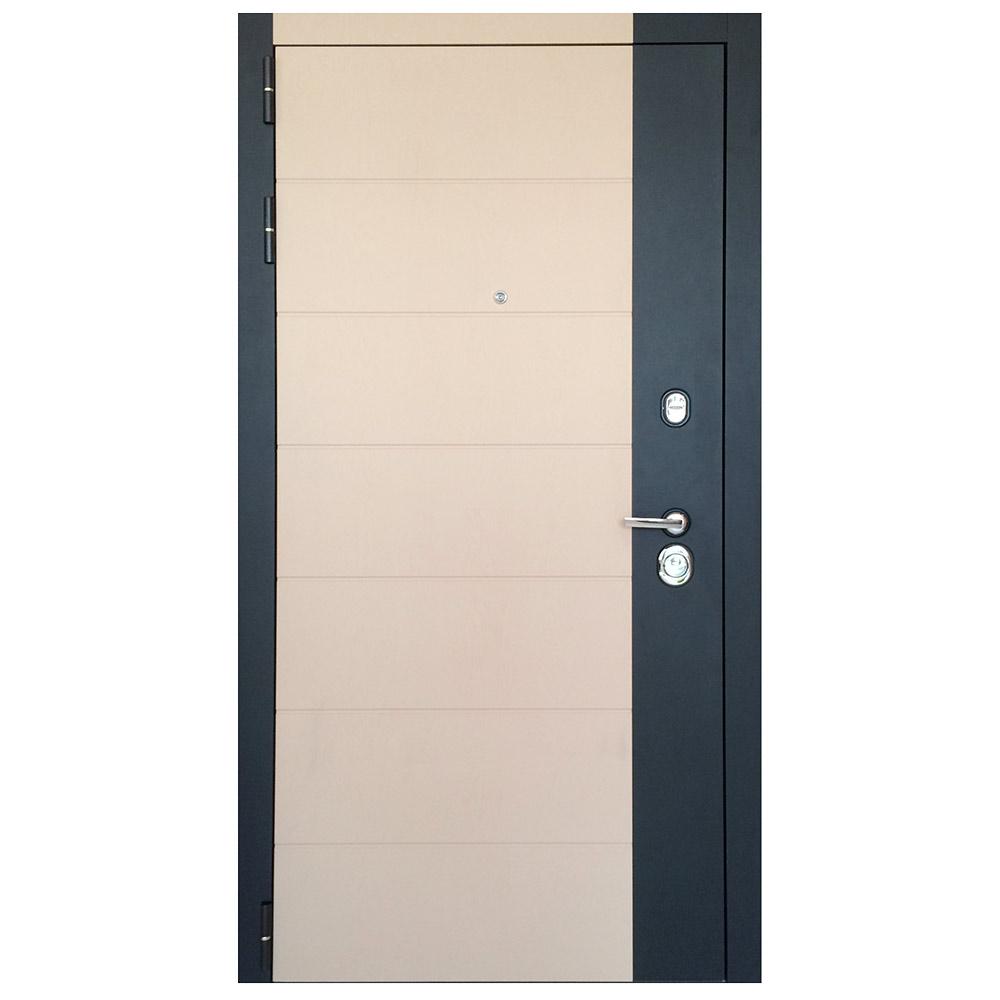 Дверь входная Дверной континент НОВА левая черный кварц и ясень лате - ясень белый 860х2050 мм
