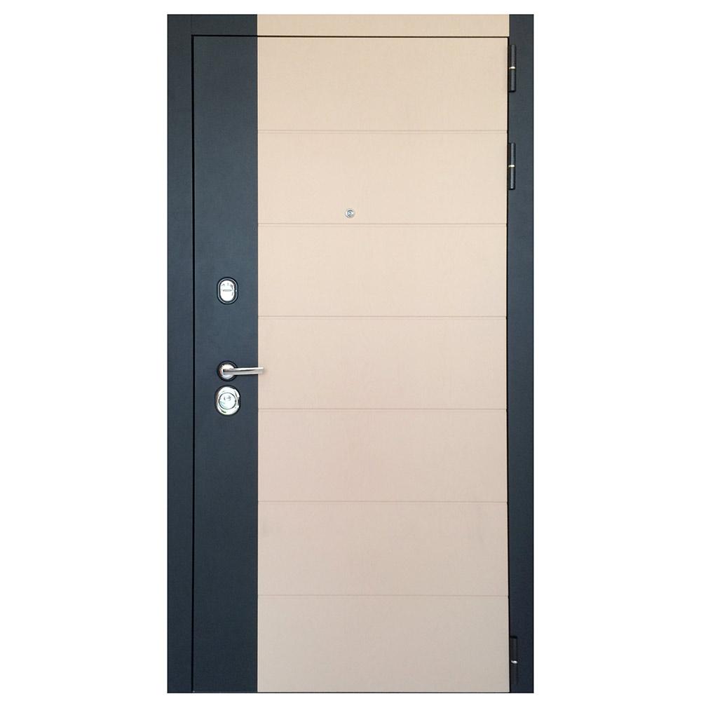 Дверь входная Дверной континент НОВА правая черный кварц и ясень лате - ясень белый 960х2050 мм