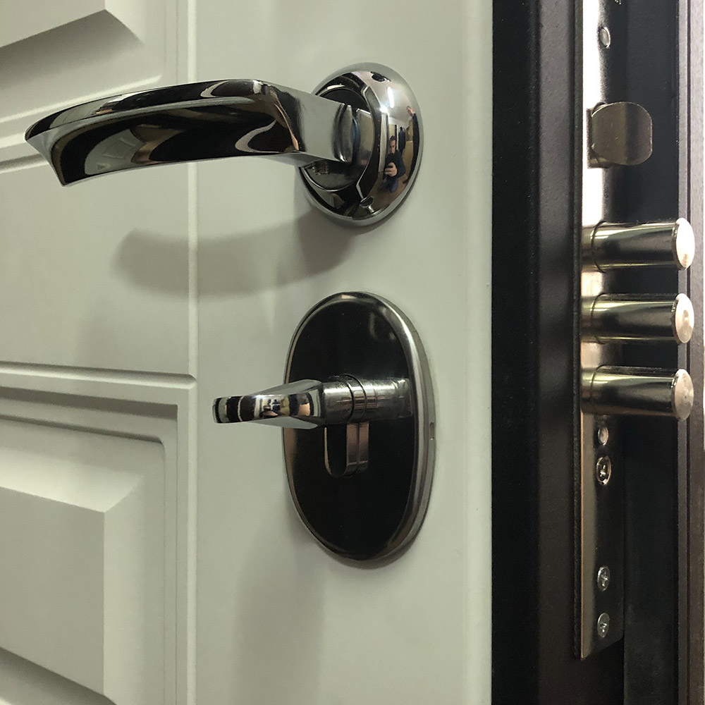 Дверь входная Дверной континент Прованс правая черный муар - ясень белый 860х2050 мм