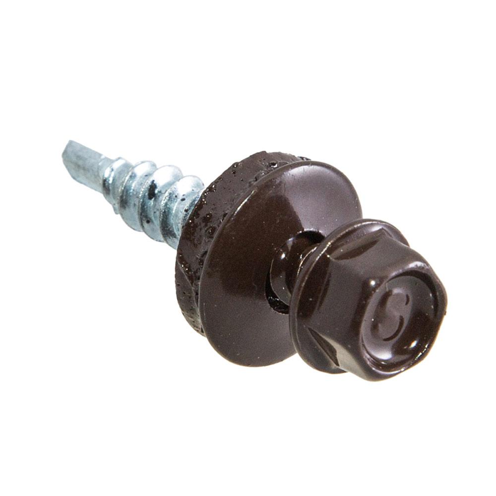 Саморезы заборные с буром 19х5,5 мм коричневые RAL 8017 (250 шт.)