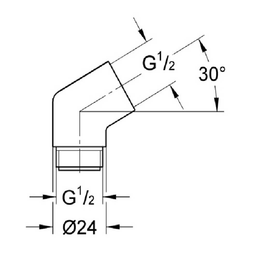Переходник для лейки GROHE Sena 28389000 1/2″ x 1/2″ латунь