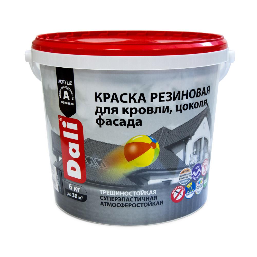 Краска водно-дисперсионная фасадная Dali резиновая белый 6 кг