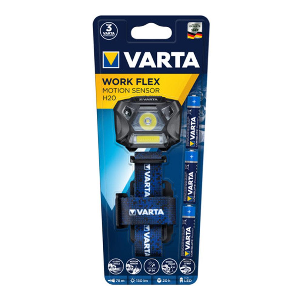 Фонарь налобный VARTA MotionSensor H20 WORK FLEX (18648101421) светодиодный 2 LED 4,8/3 Вт на батарейках ABS-пластик с датчиком движения