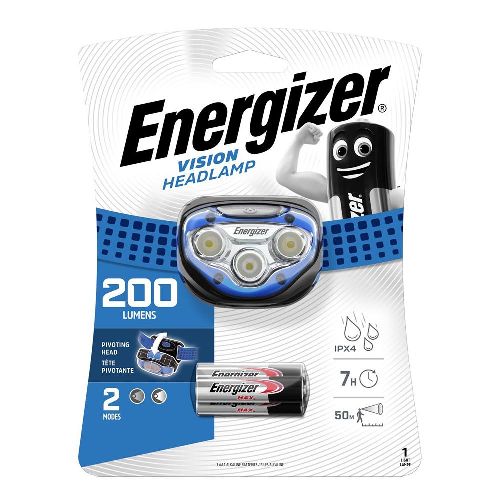 Фонарь налобный Energizer HL Vision (E300280306) светодиодный 2 LED на батарейках пластик