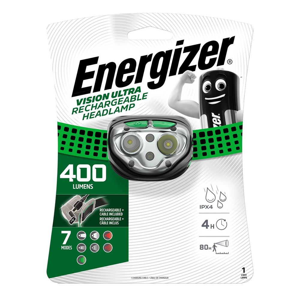 Фонарь налобный Energizer HL Vision Rechargeable (E301528201) светодиодный 2 LED аккумуляторный пластик