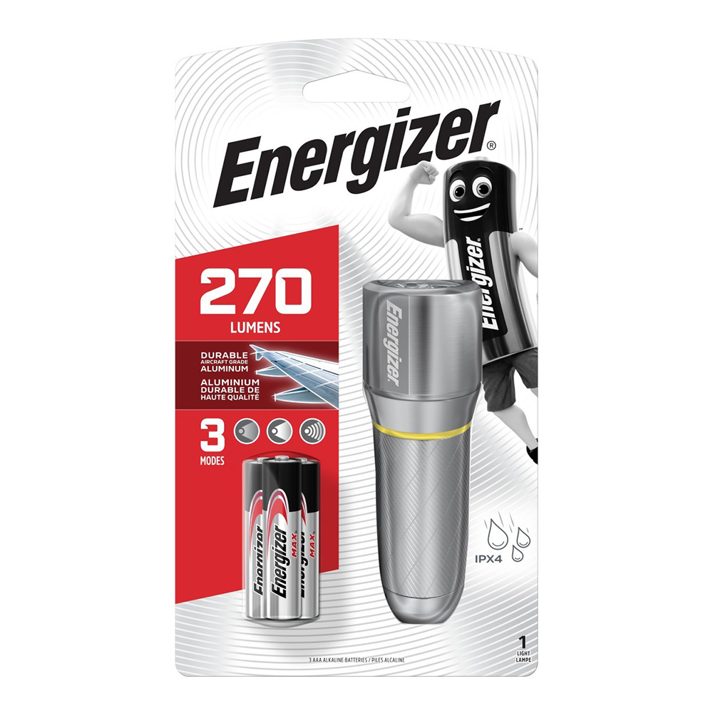 Фонарь ручной Energizer Metal Vision HD (E300691003) светодиодный 3 LED на батарейках металл