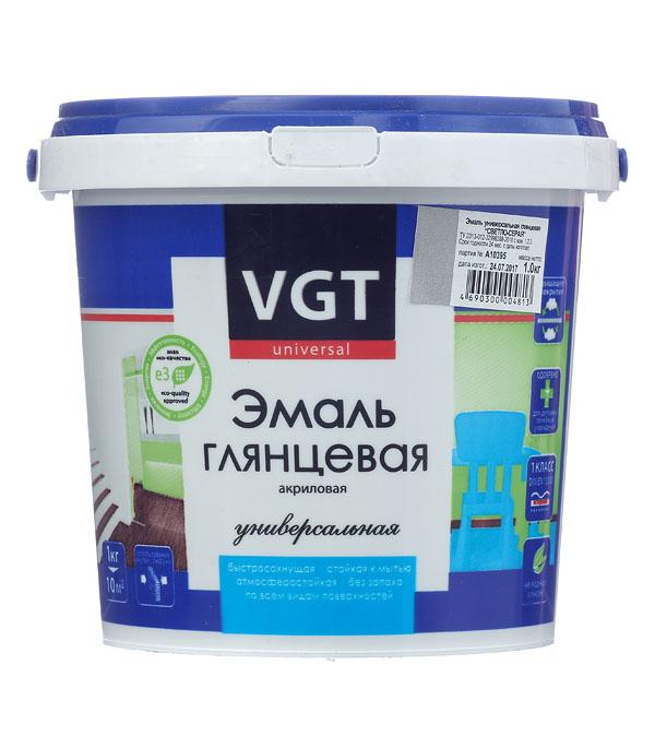 Эмаль акриловая глянцевая св.серая VGT 1 кг грунт концентрат vgt водостоп акрил 1 кг