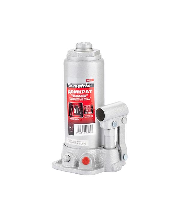 Домкрат гидравлический бутылочный 5 т домкрат matrix 50756 бутылочный 5т h подъема 216–413мм в пласт кейсе