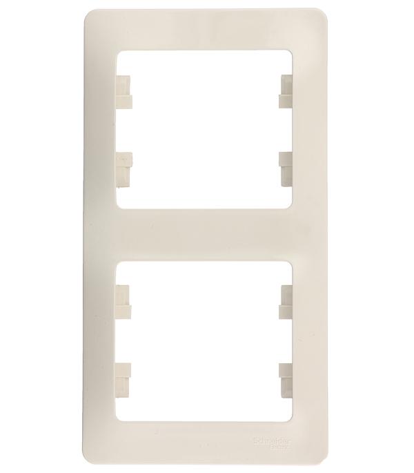 Рамка двухместная вертикальная Schneider Electric Glossa бежевая рамка двухместная schneider electric m trend белая
