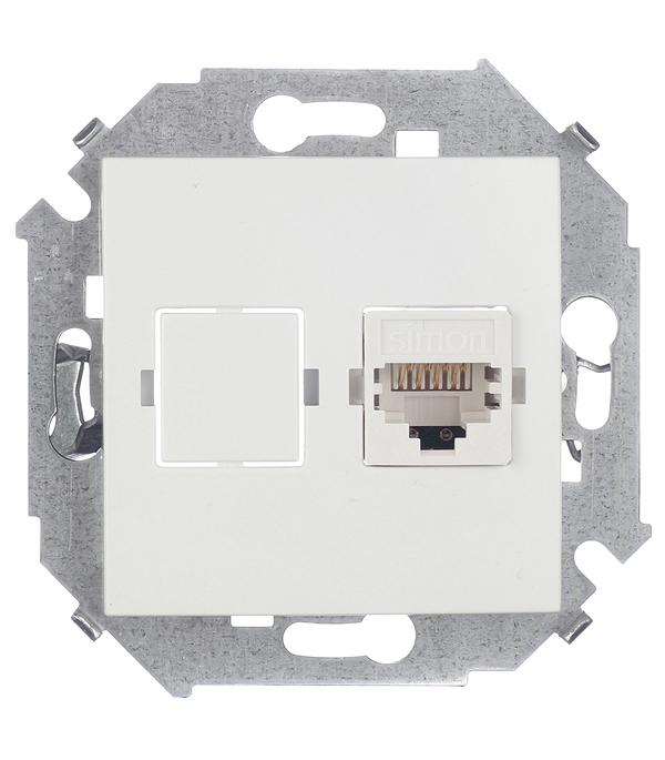 Механизм компьютерной розетки Simon 15 RJ45 категория 5е белая механизм компьютерной розетки simon 15 rj45 категория 5е слоновая кость