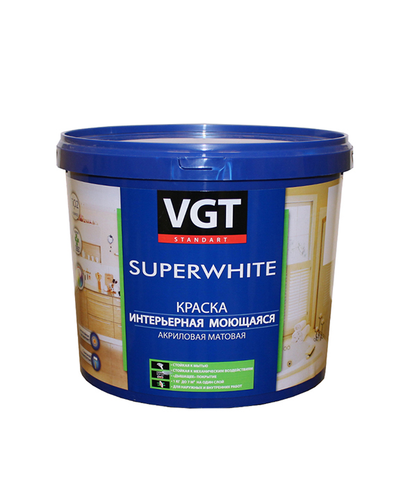 Краска в/д интерьерная моющаяся основа А матовая VGT 4 л/ 6 кг краска мелкофактурная vgt 9 кг