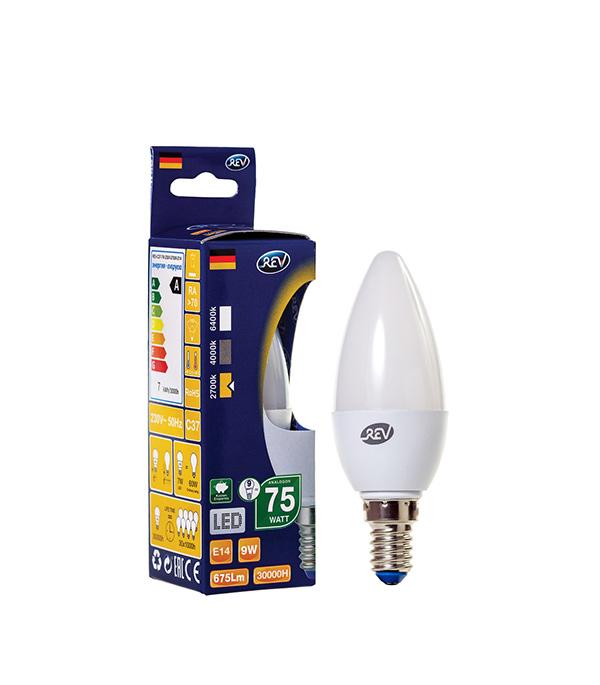 Лампа светодиодная REV Е14 9Вт 2700K теплый свет C37 свеча