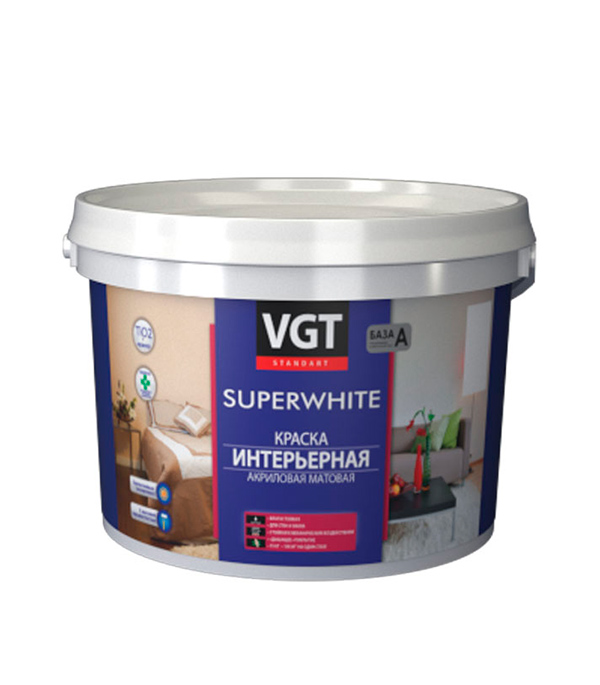 цена на Краска в/д VGT интерьерная супербелая влагостойкая основа А 10 л/ 15 кг