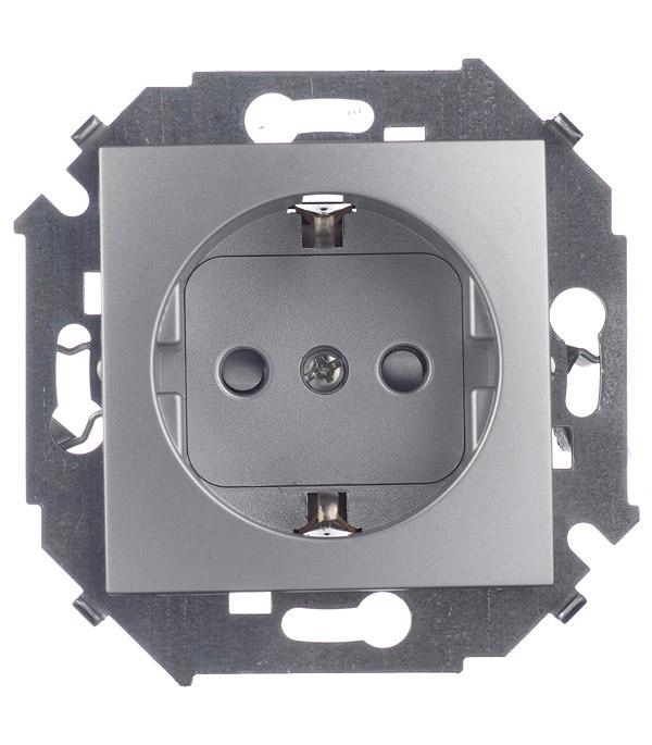 Розетка 2P+E Schuko со шторками 16А 250В винтовой зажим алюминий Simon 15 розетка кабельная 16а 3p e 380в 214
