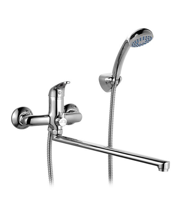 Смеситель для ванны и душа MILARDO DAVIS DAVSBLCM10 с длинным изливом однорычажный с лейкой смеситель для умывальника с поворотным изливом davis milardo davsbr0m01