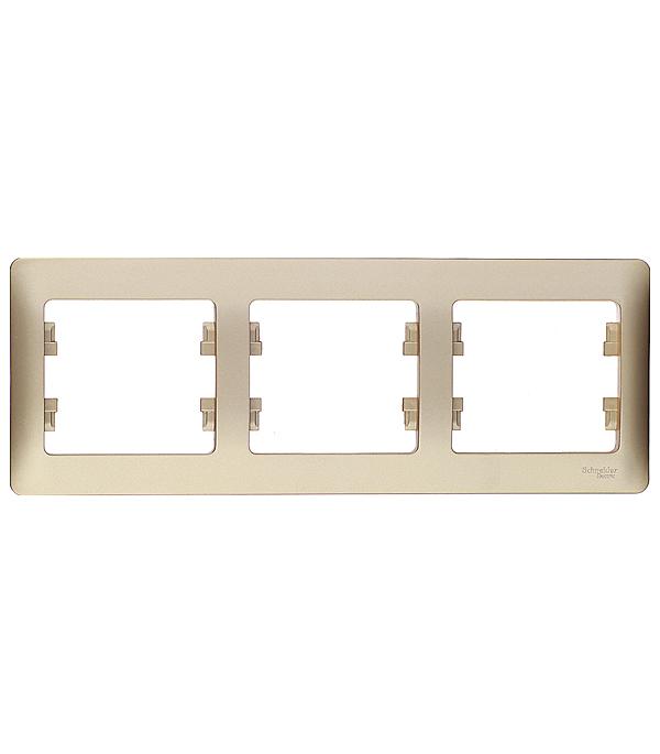 Рамка трехместная горизонтальная Schneider Electric Glossa титан рамка трехместная schneider electric glossa белая