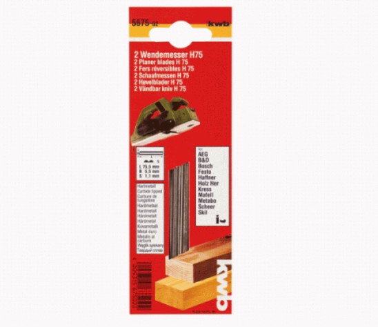 Нож для рубанка KWB 82х5.5 мм твердосплавный (2 шт)