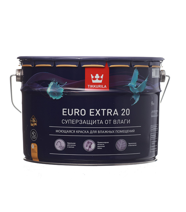 цена на Краска в/д Tikkurila Euro Extra 20 основа А полуматовая 9 л