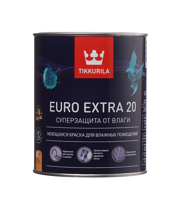 цена на Краска в/д Tikkurila Euro Extra 20 основа А полуматовая 0.9 л