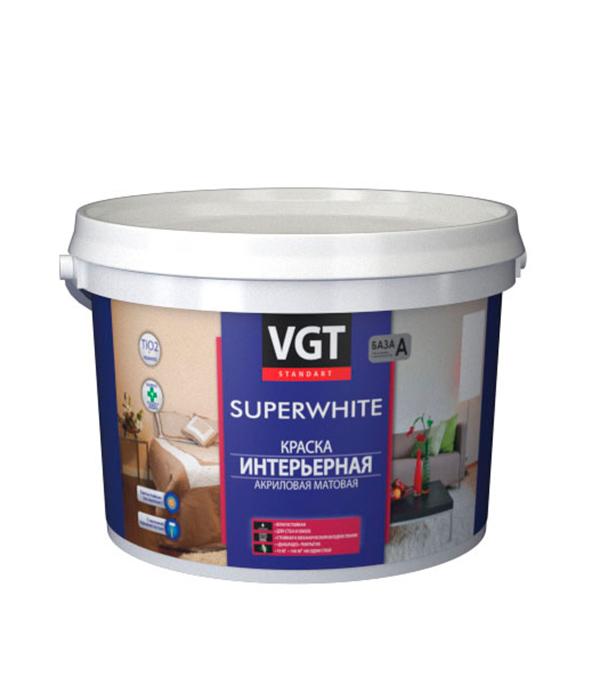 цена на Краска в/д VGT интерьерная супербелая влагостойкая основа А 2 л/ 3 кг