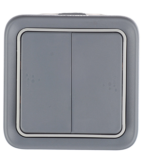 Переключатель двухклавишный Legrand Plexo о/у влагозащищенный IP55 серый щиток влагозащищенный legrand ip65 2х12 модулей c шинами n pe 601982
