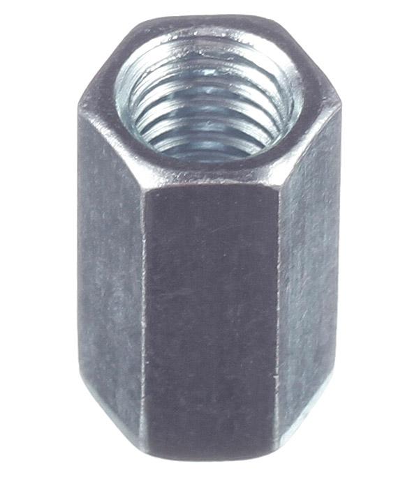 Гайка соединительная оцинкованная M8х24 мм DIN 6334 (1 шт.) цена