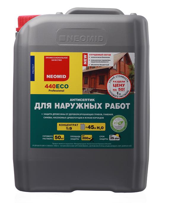 Антисептик Neomid 440 Еco для наружных работ для дерева биозащитный концентрат 1:9 5 л