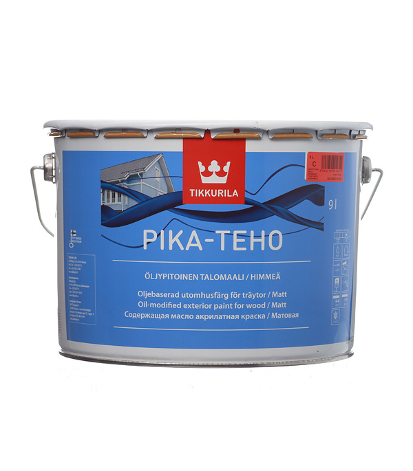 Краска водно-дисперсионная для деревянных фасадов Tikkurila Pika-Teho основа С 9 л цена в Москве и Питере