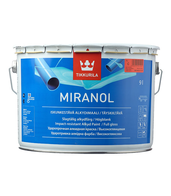 Эмаль алкидная Tikkurila Miranol основа С глянцевая 9 л