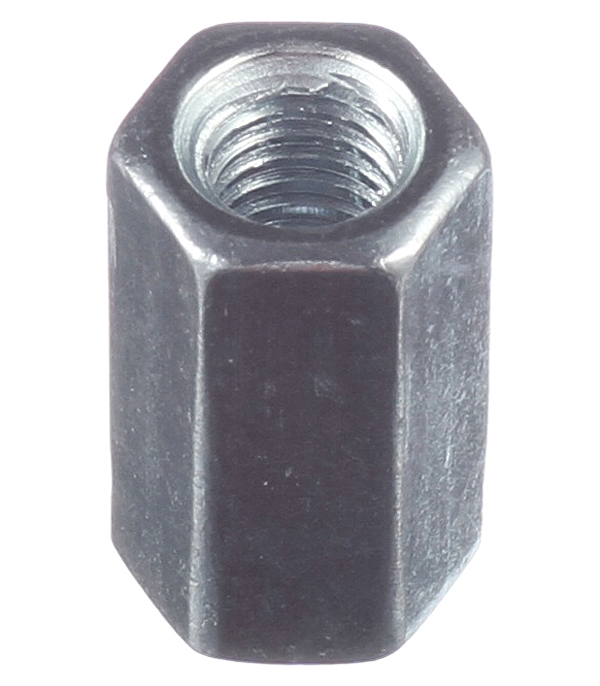 Гайка соединительная оцинкованная M6х18 мм DIN 6334 (1 шт.) цена