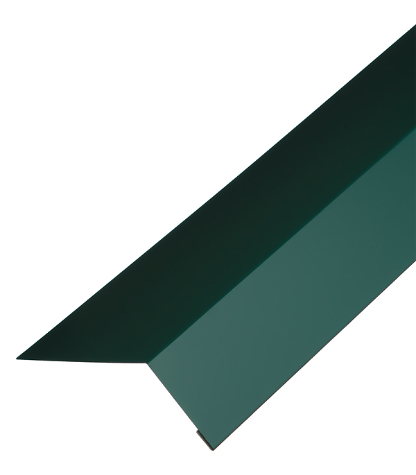 Планка карнизная для гибкой черепицы 100х60 мм 2 м зеленая RAL 6005 конек для металлочерепицы плоский с пазом 135х35х60х35х135 мм 2 м зеленый ral 6005