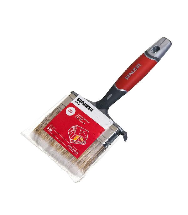 Кисть плоская Anza 100 мм искусственная щетина прорезиненная ручка кисть плоская 60 мм натуральная щетина прорезиненная ручка hardy стандарт