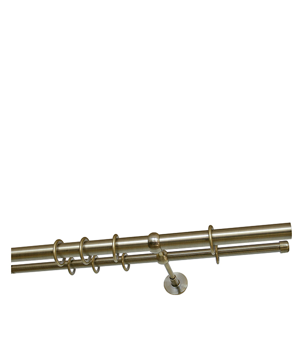 цены Карниз настенный металлический двухрядный круглый 200 см d 16 бронза