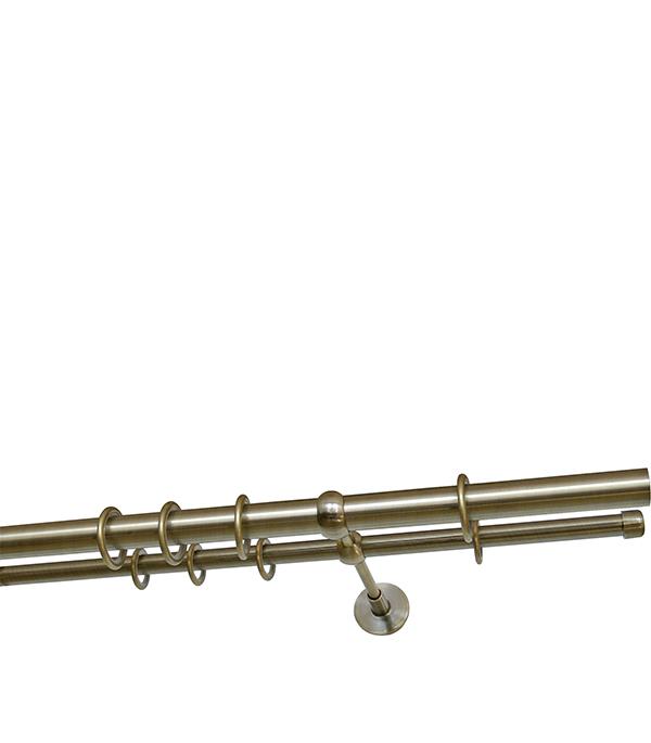 Карниз настенный металлический двухрядный круглый 240 см d 16 бронза карнизы и аксессуары для штор arcodoro карниз куинксов цвет натуральный 240 см