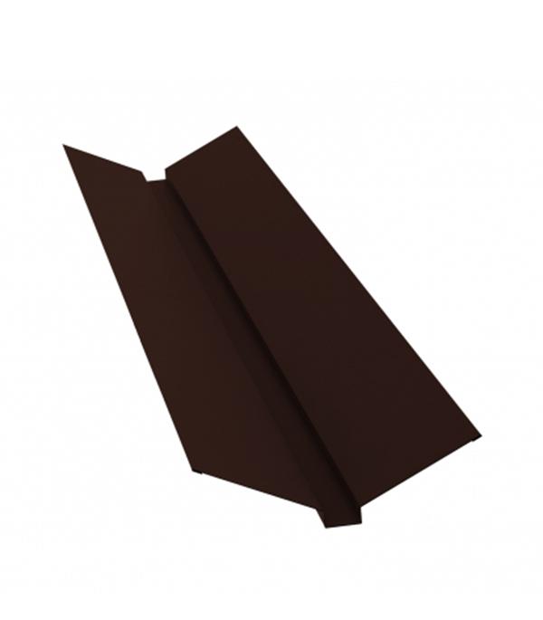 Ендова внешняя для металлочерепицы 115х30х115 мм 2 м Стальной бархат коричневая RAL 8017 фото