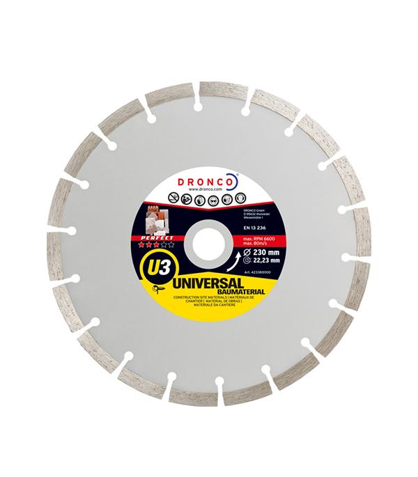 Диск алмазный сегментный DRONCO U 3 230х22 диск алмазный сегментный практика 230х22 профи 10 мм 030 818