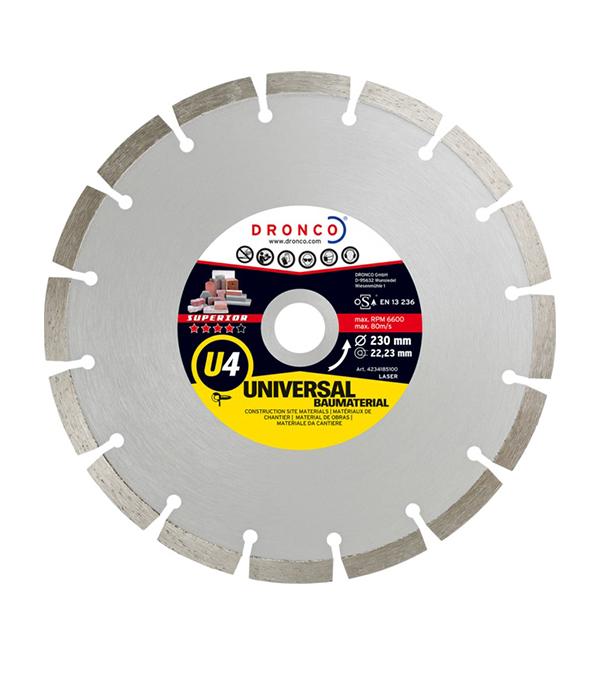 Диск алмазный сегментный DRONCO U 4 230х22 диск алмазный сегментный практика 230х22 профи 10 мм 030 818
