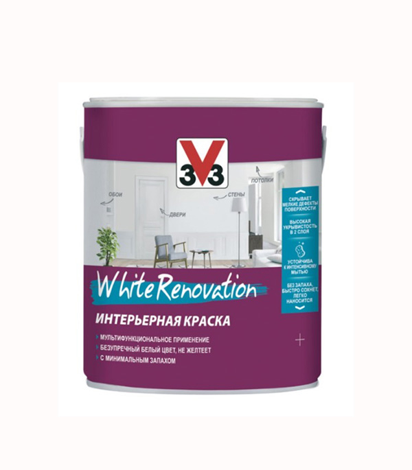 Фото «Краска в/д WHITE RENOVATION V33 МАТ основа А 0,9 л» в Санкт-Петербурге