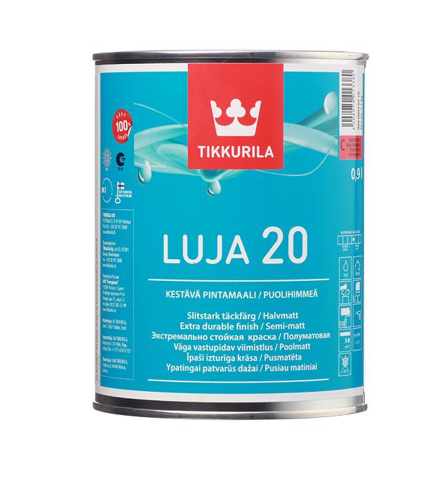 Краска водно-дисперсионная Tikkurila Luja 20 Puolihimmea моющаяся основа C 0,9 л